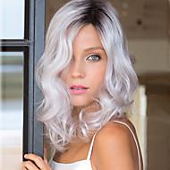 Syntetiske parykker Bølget Hvit Hvit Syntetisk hår Dame Hvit Parykk Medium Lengde Lokkløs