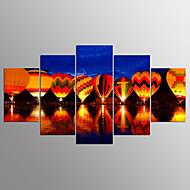 billiga Väggkonst-Stretchad Kanvastryck Landskap Moderna, Fem paneler Duk vilken form som helst Tryck väggdekor Hem-dekoration