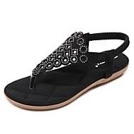ieftine Sandale fără Toc-Pentru femei Pantofi Țesătură Primăvară Vară Confortabili Tălpi cu Lumini Sandale Plimbare Toc Platformă Vârf rotund Piatră Semiprețioasă
