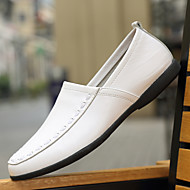 Men's Shoes PU Spring Fall Comfort Loafers & Slip-Ons For Casual White Black Yellow Brown