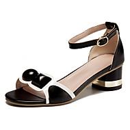 여성 샌들 컴포트 가죽 여름 캐쥬얼 워킹화 컴포트 버클 낮은 굽 화이트 블랙 핑크 5cm- 7cm