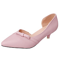 baratos Sapatos de Tamanho Pequeno-Mulheres Sapatos Couro Ecológico Primavera / Outono Conforto / botas de desleixo Mocassins e Slip-Ons Caminhada Salto Baixo Dedo Apontado Laço Preto / Bege / Rosa claro
