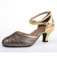 """billige Moderne sko-Dame Latin Glimtende Glitter Paljett Sandaler Ytelse Paljett Gummi Stiletthæl Gull Svart 2 """"- 2 3/4"""" Kan ikke spesialtilpasses"""