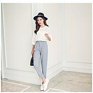 Dámské Na běžné nošení Lehce elastické Rovné Štíhlý Kalhoty chinos Kalhoty Mid Rise Jednobarevné Jaro Podzim