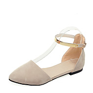 cheap Women's Flats-Women's Sandals Summer D'Orsay & Two-Piece Comfort Leatherette Office & Career Dress Casual Flat Heel Buckle Hollow-outBlushing Pink
