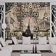 アールデコ調 純色 ホームのための壁紙 レトロ風 ウォールカバーリング , キャンバス 材料 接着剤必要 壁紙 , ルームWallcovering