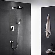 Současné Secese a retro Moderní Nástěnná montáž LED Dešťová sprcha Výsuvný rozprašovač with  Mosazný ventil Single Handle dva otvory for