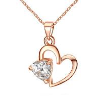 Mulheres Colares com Pendentes Formato de Coração Chapeado Dourado Amor Coração Jóias Para Casamento Noivado 1peça
