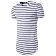 Rund hals Tynd Herre - Stribet Trykt mønster Basale Sport T-shirt / Kortærmet / Lang
