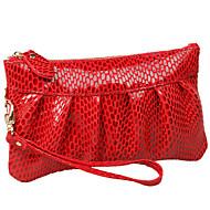 baratos Clutches & Bolsas de Noite-Mulheres Bolsas Pele Bolsa de Mão Cobra Vermelho / Camel / Rosado