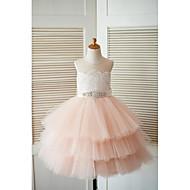 printesa ceai lungime floare fată rochie - dantelă tul fără mâneci gât bijuterie cu beading de thstylee