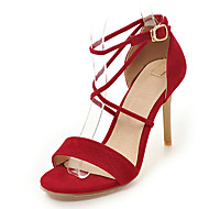 Ženske Sandale Proljeće Ljeto Jesen Udobne cipele Umjetna koža Ured i karijera Formalne prilike Ležeran Stiletto potpetica KopčaCrn