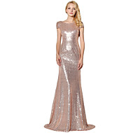 cheap -Mermaid / Trumpet Jewel Neck Floor Length Sequined Sparkle & Shine Formal Evening Dress with Sequin by LAN TING Express