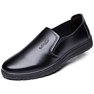 Men's Shoes Leather Spring Fall Comfort Loafers & Slip-Ons Walking Shoes Stitching Lace For Casual Black Brown