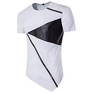 Men's Sports Active Cotton Slim T-shirt - Color Block Black & White, Patchwork Round Neck / Short Sleeve