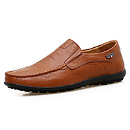Men's Shoes Leather Cowhide Spring Fall Comfort Loafers & Slip-Ons Polka Dot For Athletic Casual Outdoor Black Light Brown Dark Brown