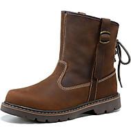 tanie Obuwie damskie-Dla obu płci Obuwie Nappa Leather Jesień Comfort / Kowbojki / Oficerki Buciki Light Brown / Modne obuwie / Obuwie motocyklowe