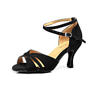 "cheap Latin Shoes-Women's Latin Flocking Sandal Beginner Buckle Stiletto Heel Black 2"" - 2 3/4"" Customizable"