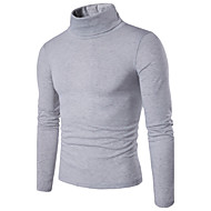 cheap -Men's Daily / Weekend Solid Colored Long Sleeve Slim Regular Pullover, Turtleneck Spring Purple / Wine / Light gray L / XL / XXL