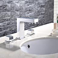 現代風 組み合わせ式 ワイドspary with  セラミックバルブ 二つのハンドル三穴 for  クロム , バスルームのシンクの蛇口