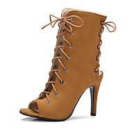 baratos Sapatos Femininos-Mulheres Sapatos Courino Primavera / Verão Conforto Sandálias Salto Agulha Peep Toe Cadarço Azul / Amêndoa / Castanho Claro / Com Laço