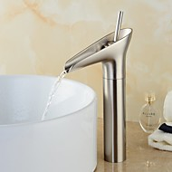 Modern Centerset Pre Rinse Waterfall Ceramic Valve Single Handle One Hole Nickel Brushed , Bathroom Sink Faucet