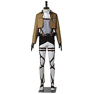 cheap Anime Cosplay-Inspired by Attack on Titan Levy Anime Cosplay Costumes Cosplay Suits Solid Colored Long Sleeves Top Pants Apron Belt More Accessories