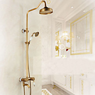 cheap Shower Faucets-Contemporary Antique Art Deco/Retro Centerset Waterfall Rain Shower Handshower Included Pullout Spray Ceramic Valve One Hole Single