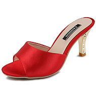 Feminino Sandálias Conforto Tecido Verão Casual Caminhada Conforto Combinação Salto Agulha Preto Vermelho Verde 5 a 7 cm