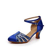 billige Moderne sko-Dame Moderne Sateng Høye hæler Innendørs Tvinning Kustomisert hæl Gull Sølv Blå Leopard Kan spesialtilpasses