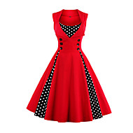 cheap -Women's Plus Size Party / Holiday / Going out Vintage / 1950s A Line Dress - Polka Dot Red, Print Wine Light Blue Green XXL XXXL 4XL