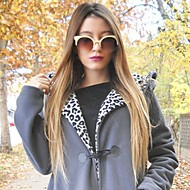 halpa -Naisten Synteettiset peruukit Suojuksettomat Pitkä Suora Medium Brown / Strawberry Blonde Liukuvärjätyt hiukset Luonnollinen peruukki
