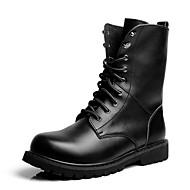 baratos Sapatos Masculinos-Homens Fashion Boots Pele Outono / Inverno Conforto / Botas de Moto Botas Preto / Festas & Noite