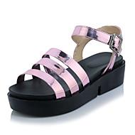 baratos Sapatos Femininos-Mulheres Courino Primavera / Verão Conforto Sandálias Creepers Dedo Aberto Colchete Preto / Prateado / Rosa claro