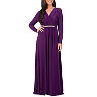 Mulheres Tamanhos Grandes Feriado Moda de Rua Bainha Vestido - Pregueado, Retalhos Decote em V Profundo Cintura Alta Longo
