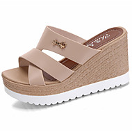 Women's Slippers & Flip-Flops Sandals Comfort PU Summer Casual Walking Comfort Hollow-out Wedge Heel Black Beige Blushing Pink 3in-3 3/4in