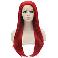 נשים פאות סינתטיות חזית תחרה ארוך ישר אדום שיער טבעי פאה למשחקי תפקידים פאות תלבושות