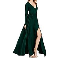 Feminino Solto Vestido,Casual Simples Sólido Decote V Longo Manga Longa Poliéster Verão Cintura Alta Sem Elasticidade Fina