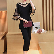 cheap -Women's Round Neck Pant Half Sleeves Spring Summer