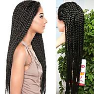 Kvinder Syntetiske parykker Blonde Forside Lang Rett Svart Naturlig hårlinje Parykk med fletter Afrikanske fletter Afroamerikansk parykk