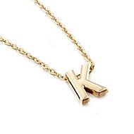 Naisten Riipus-kaulakorut Monogrammi Alphabet Shape halpa naiset minimalistisesta Muoti Gold Plated Keltakulta Metalliseos L X Z Kaulakorut Korut 1kpl Käyttötarkoitus Party Lahja Päivittäin