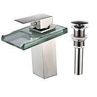 billige Rabatt Kraner-Kransett - Foss / LED Nikkel Børstet Centersat Enkelt Håndtak Et HullBath Taps / Messing