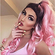 Ombre Wig Beauty Fashion Pink Body Wavy Synthetic Wigs for Party Heat Resistant Long Wavy Synthetic Capless Wig It Girl Daily Wearing or Cosplay