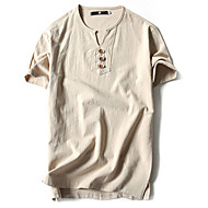 Kortærmet Rund hals Tynd Herrer Ensfarvet Forår Sommer Vintage Simpel Afslappet/Hverdag Sport Plusstørrelser T-shirt,Bomuld Hør