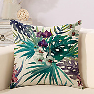 cheap Pillow Covers-1 pcs Cotton/Linen Pillow Case Pillow Cover, Botanical Printing Novelty Vintage Casual Tropical European Neoclassical Traditional/Classic