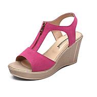 baratos Sapatos Femininos-Mulheres Calcanhares Camurça Verão Conforto Sandálias Salto Plataforma Peep Toe Fúcsia / Café / Vermelho
