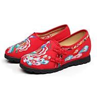 Dámské Bez podpatku Pohodlné vyšívané boty Látka Jaro Podzim Denní Ležérní Šaty Pohodlné vyšívané boty Flitry Přezky KvětinyPlochá