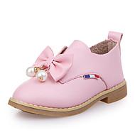 女の子 オックスフォードシューズ PUレザー 春 夏 リボン イミテーションパール フラットヒール ブラック レッド ピンク フラット