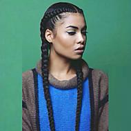 Naisten Synteettiset peruukit L-muotoinen Pitkä Suora Yaki Musta Keskijakaus Letitetty peruukki Afrikkalaiset letit Luonnollinen hiusviiva