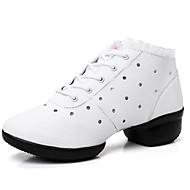 Dame Støvler Komfort Trendy støvler Kunstlær Vår Sommer Høst Vinter Avslappet Formell Gange Komfort Trendy støvler Prikkete Tykk hælHvit